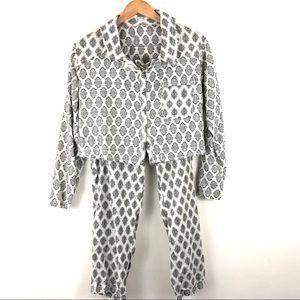 Free People Pajama Set Geometric Cropped XS